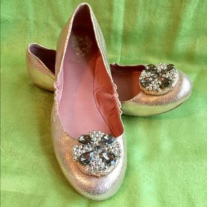 Vince Camuto Rose Gold Lame' Ballerina Flats